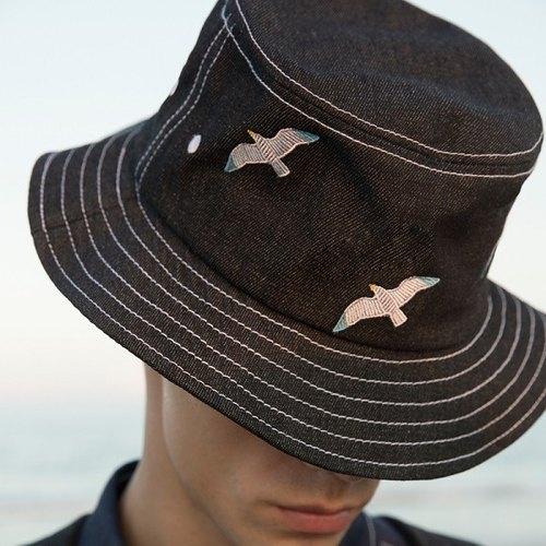 YIZISTORE new sea series embroidery cowboy hat basin cap personalized hat lovers cap - Seagull