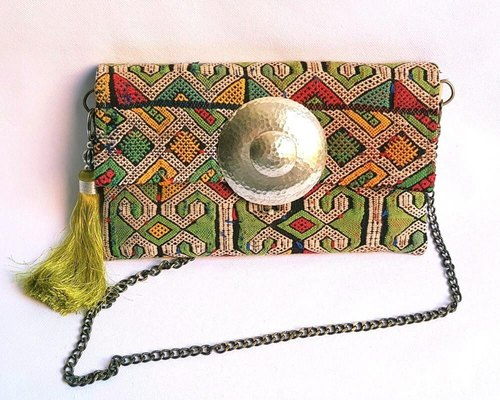 Vintage kilim clutch bag * silver buckle