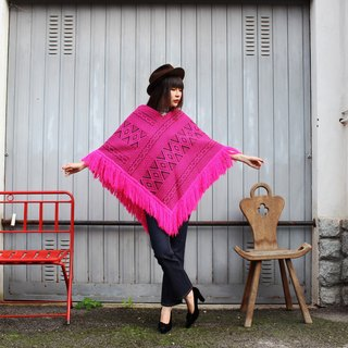 F3067 (Vintage Cape) pink unique black textured exquisite fringed hem cloak (Christmas gift Christmas exchange gifts)