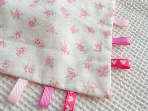 Taggie Blanket,Rattle Toy,Pink Flower,Super Soft Cotton,Tag Blankie,Baby Boy Girl,Unisex,Comforter,