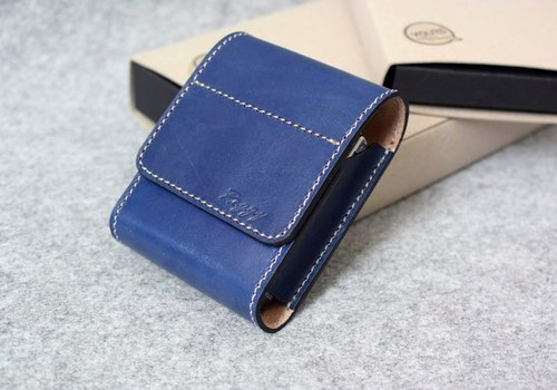YOURS handmade leather seal box / leather cigarette case / Leather Case long concealed magnetic snap-lid blue leather