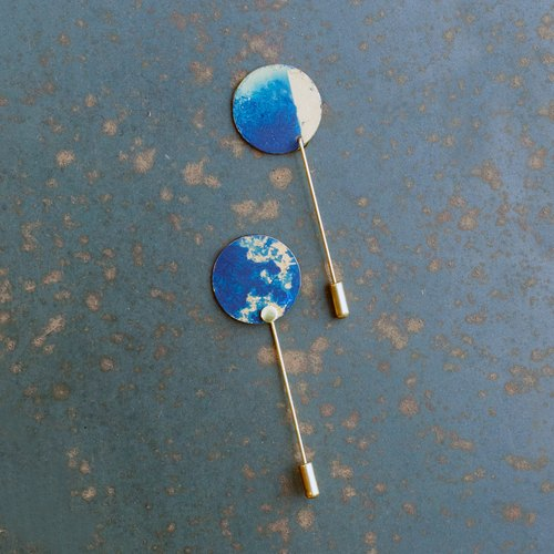 Blue Moon / Art Long brooch / set / Exclusive custom / Valentine's Day gift