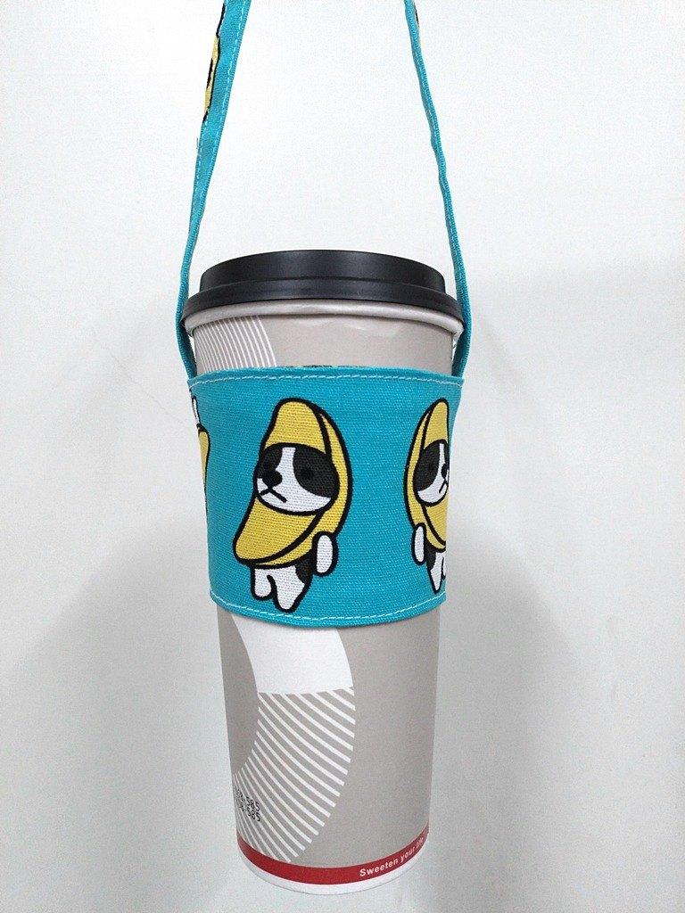 Drink Cup Set Eco Cup Set Hand Drink Bag Coffee Bag Tote Bag - Banana Dog (Lake Green)
