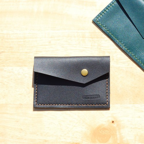 Handy business card holder / purse - leather hand-stitched square (black)