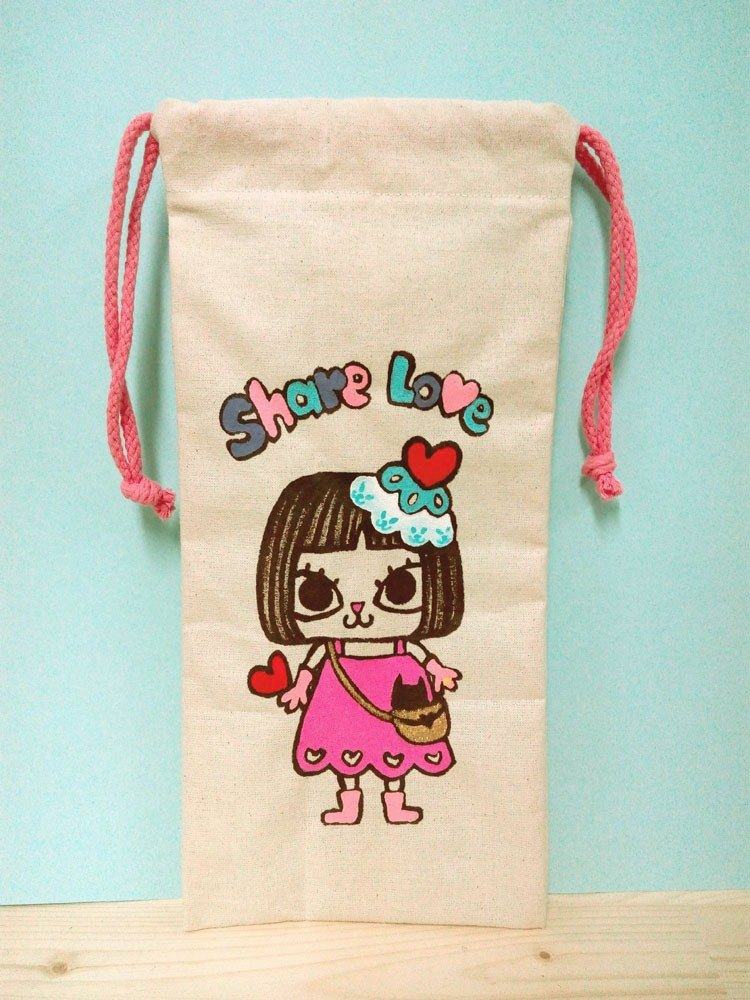 Hand-painted hand for Share love Mushroom head US-cat multi-purpose storage cable bag