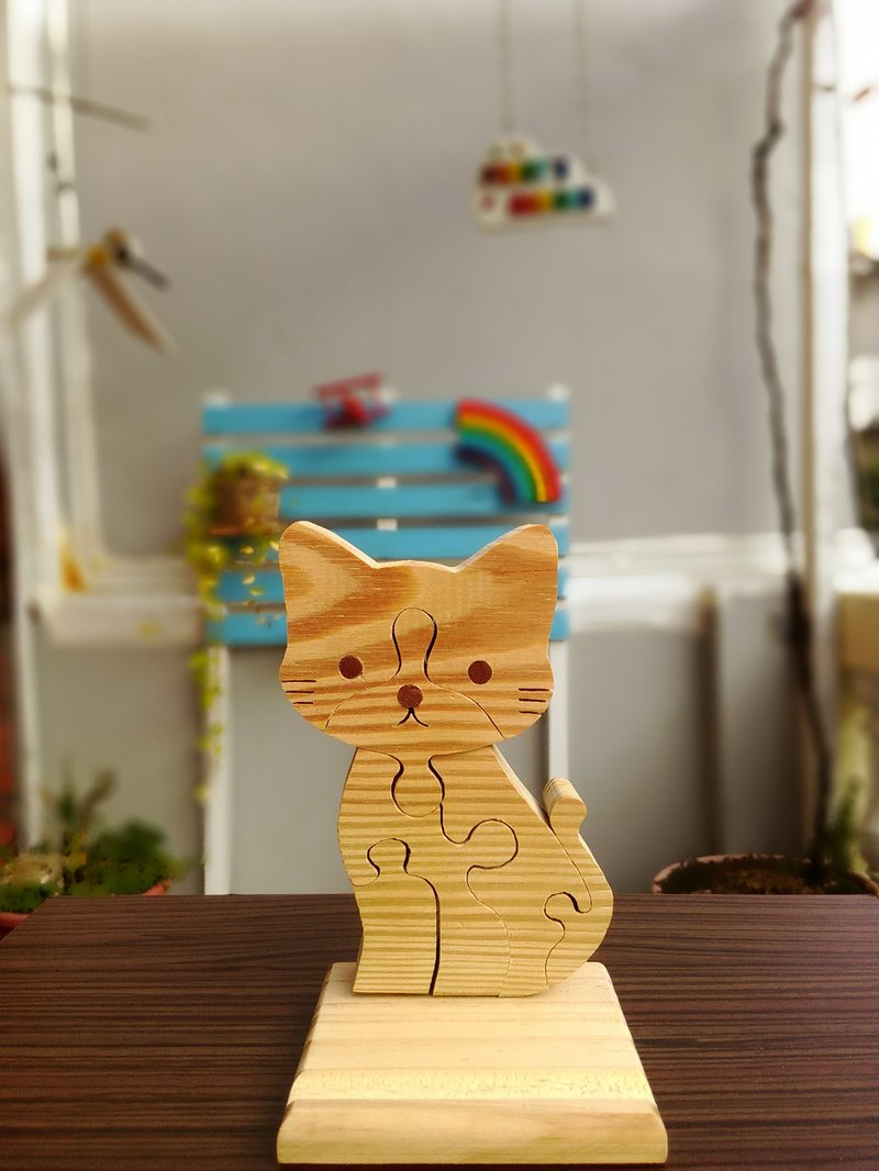 Cat puzzle mobile phone holder