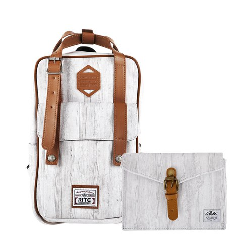 【New Year's first - Flush Promotion】 Twin Series | Mobile Package (M) x Walking Bag (Horizontal) - Light Wood