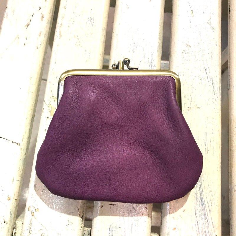 **大正浪漫~真皮雙層小口金(莓紫)