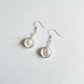 Circle Pearl/Drape-style/White/Earrings/Swarovski/Sterling Silver/By hand【ZHÀO】SZE1791