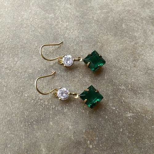 Square green antique glass CZ Earrings