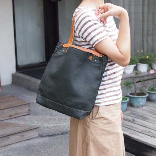 Japan No.8 canvas simple casual portable / shoulder bag dual only camel yellow Made in Japan by TEHA'AMAN