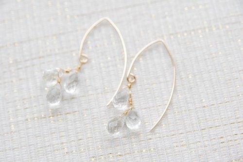 Drop-cut quartz 3 large grain Marquis hook earrings (14 kgf)