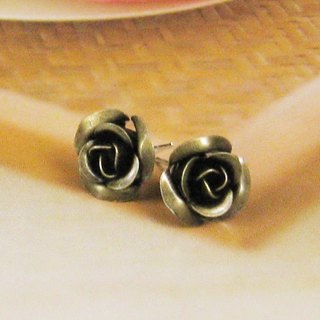 Rose three-dimensional bronze earrings