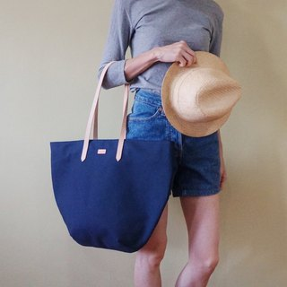 Navy Blue Beach Tote Bag with Leather Strap - Casual Weekend Tote