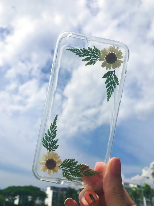 Real pressed dried flower Resin IPhone 6/6s/6+/7/7+ Clear cover casing