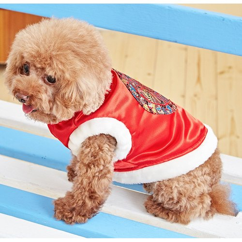 Pet clothes cheongsam modeling Chinese style (red)