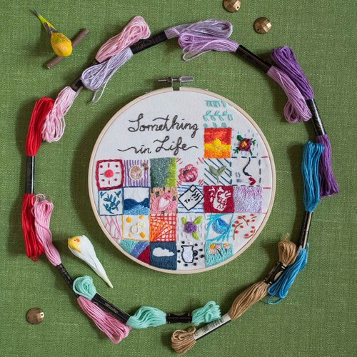 "Handmade Embroidery Hoop Art Gift - ""Something in Life"""