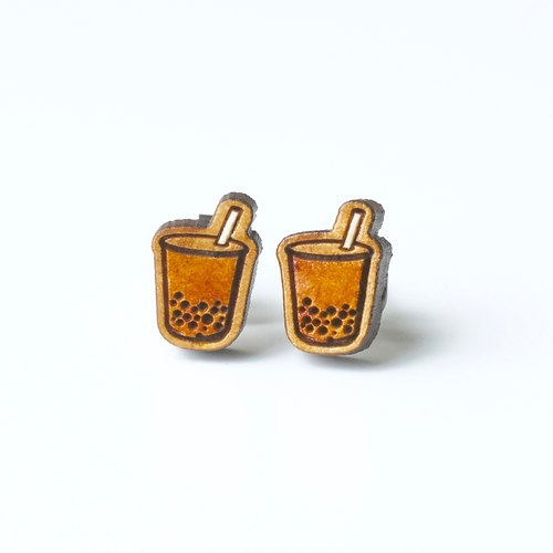Painted wood earrings-Bubble tea