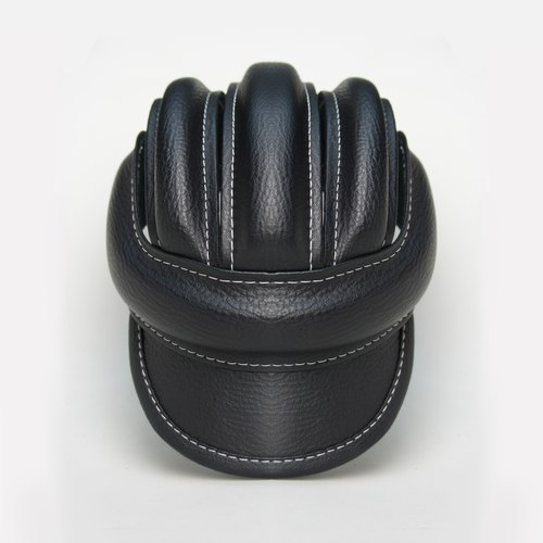 SE ic | Leather Retro Bicycle Cap | Black