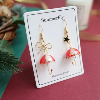 Christmas limited edition - red white umbrella dangle earrings 18k bag gold bow stars New Year's greetings