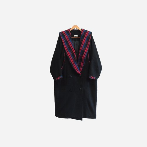 Dislocation vintage / Plaid collar coat coat no.412 vintage