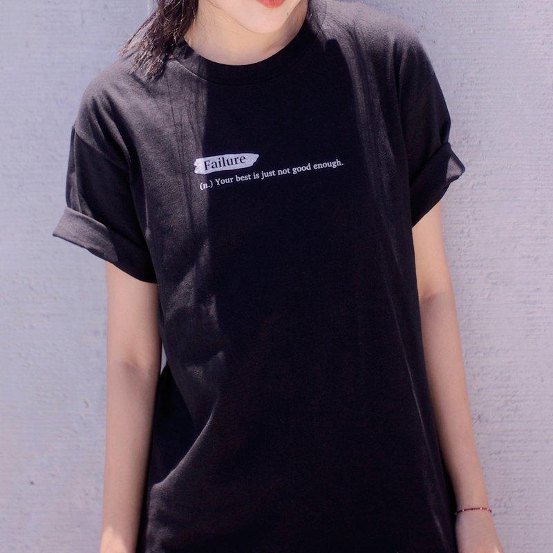 Failure - 中性 oversize 無接縫圓筒黑色短 T 恤