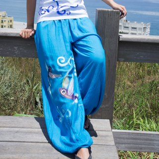 Hand Painted Flying Fish dyed cotton bloomers (neutral models / trousers / pants)