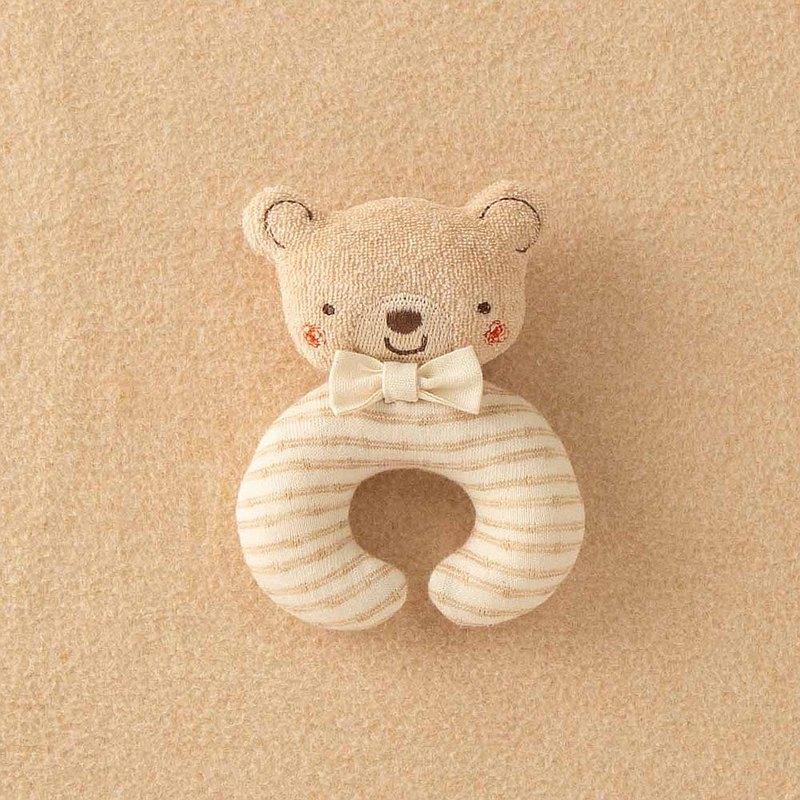 【Amorosa Mamma有機棉】嬰兒手搖鈴 (條紋熊 )