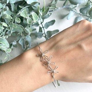 3 Flowers。Bangle。Spring。14Kgold / Silver