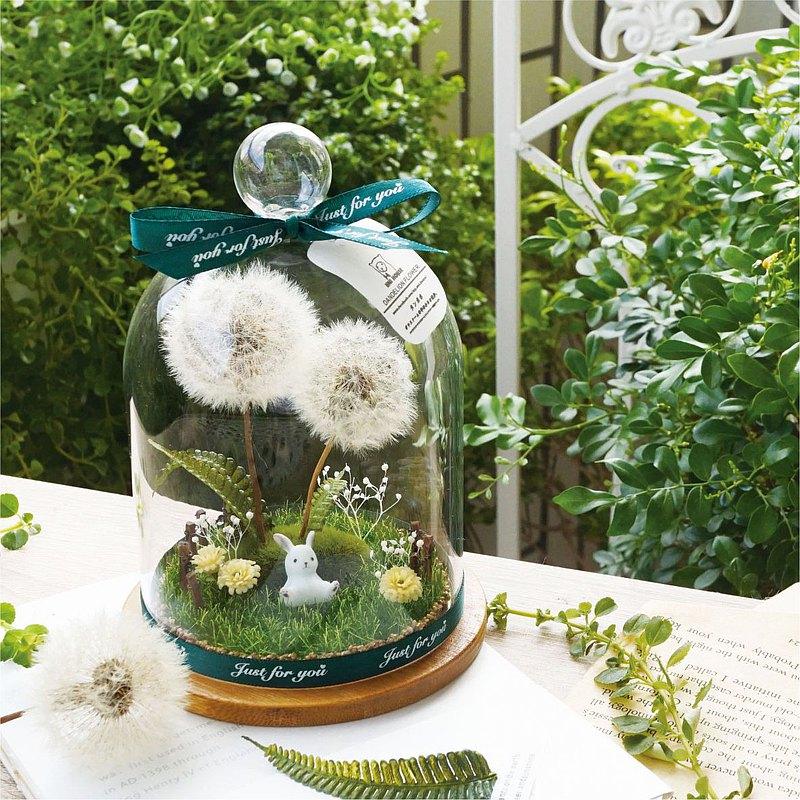 羊奶的家*手作/兔子微景觀森林 療癒禮物 (蒲公英永生花)