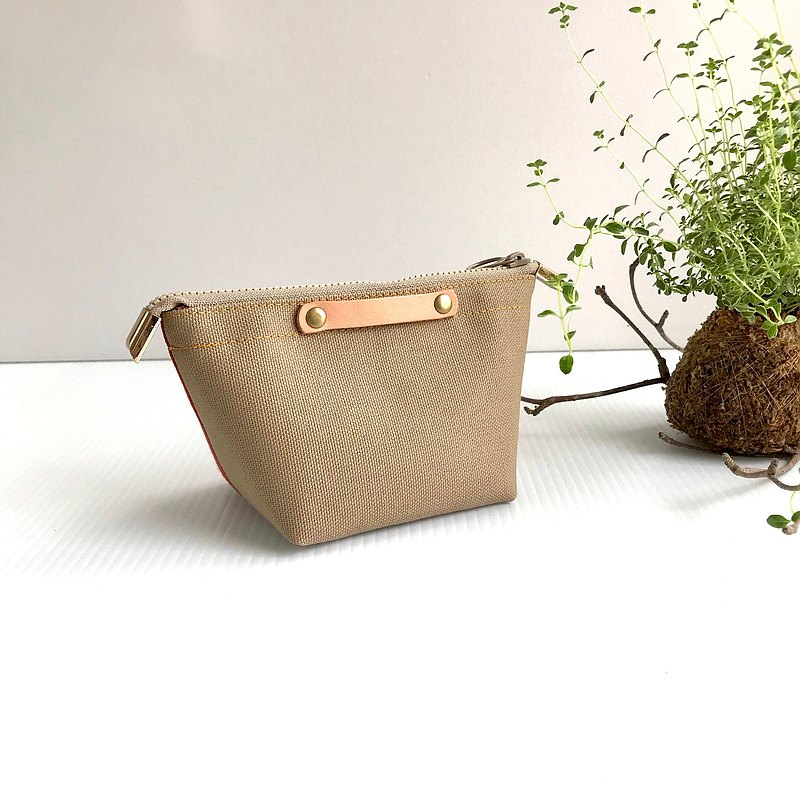 Two-tone Japanese canvas mini cosmetic bag