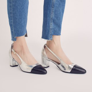 Elegant micro-tip! Tiramisu two-tone mid-heel shoes black × silver full leather MIT jumping candy