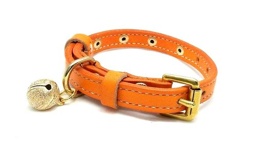 [Handsome] leather collar Handmade leather collar XS (cat / puppy)