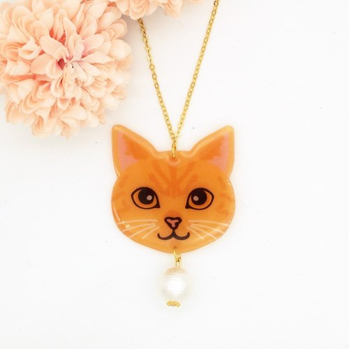 Meow handmade cat and cotton pearl necklace - yellow cat