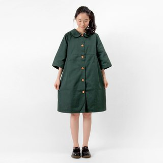 Comma dot punctuation small round neck dress / windbreaker jacket - retro dark green
