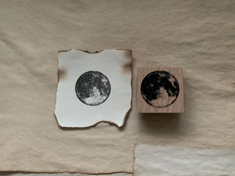 Hand- drawn stamp The moon