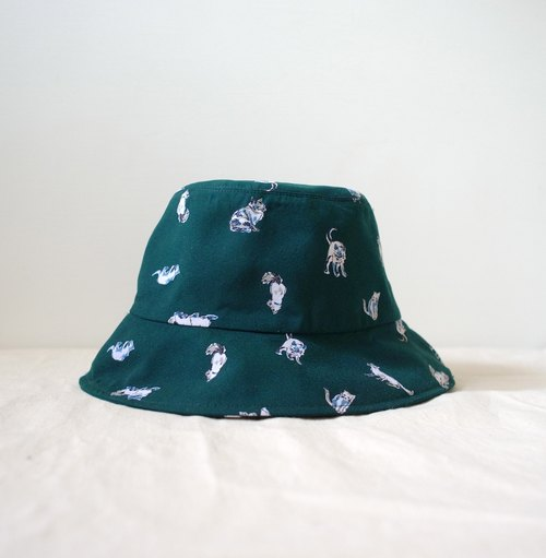 Japanese fabric forest green cat hand fisherman hat