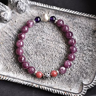 Lithium mica + rose stone + amethyst sterling silver bracelet