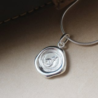 Initial Monogram J / Make a Mark Personalised 925 Silver Wax Seal Necklace