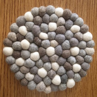Potholder, Trivet, Pan Coaster, Pot holder, Felt ball Trivet Round 20cm Grey