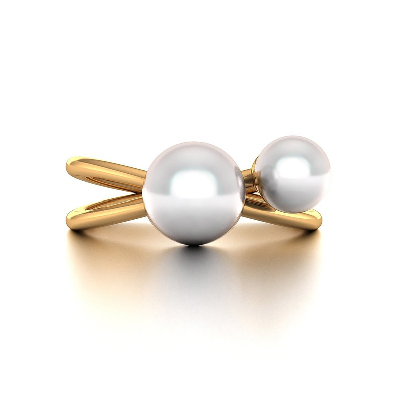 【PurpleMay Jewellery】18K SOLID GOLD DUE PEARL STYLE RING- R108
