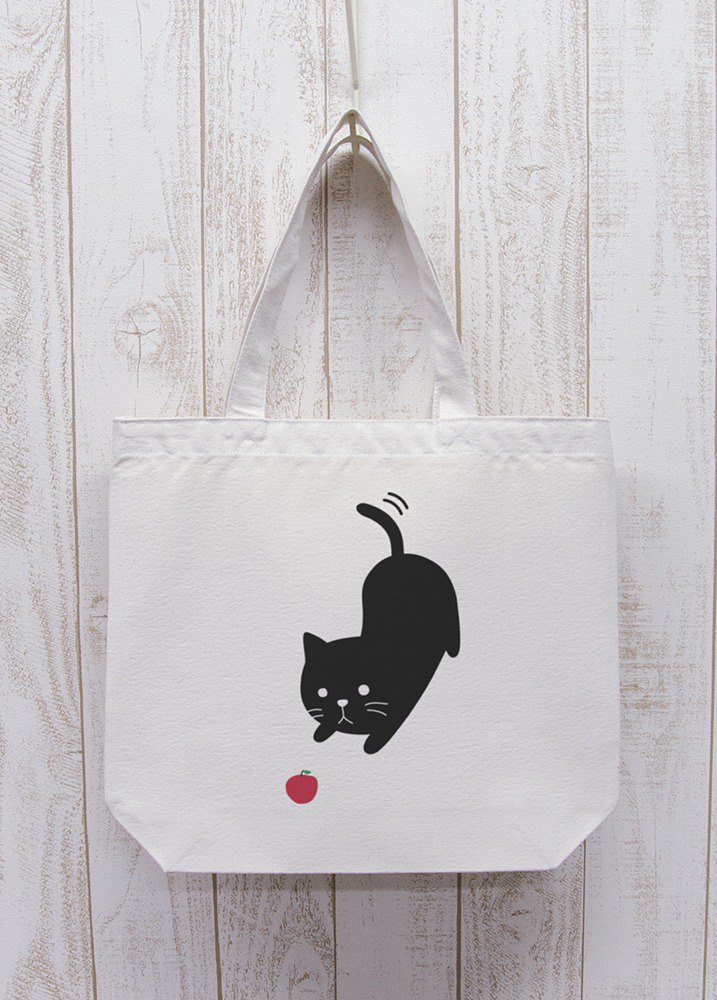 Nite Ten Zero Nyan Outing Tote To Aim at the Natural Apple / R015-BT-NA