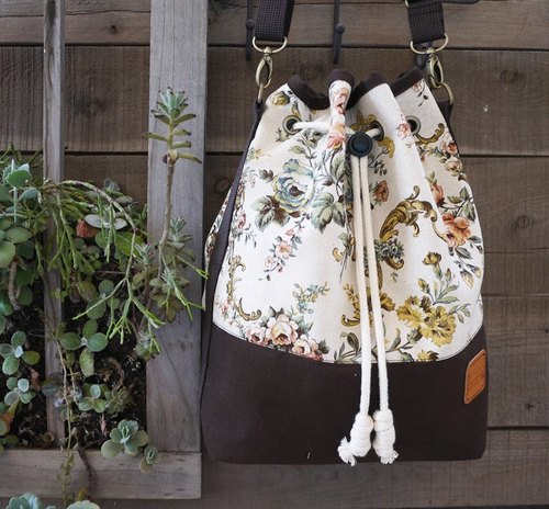 Japanese floral cotton bucket bag
