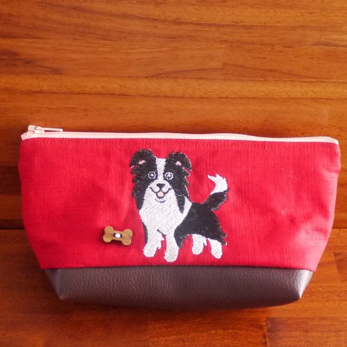 Border Collie Dog Customized Embroidered Pen Bag Storage Bag 10 Colors (Free Embroidery English Name Please Note)