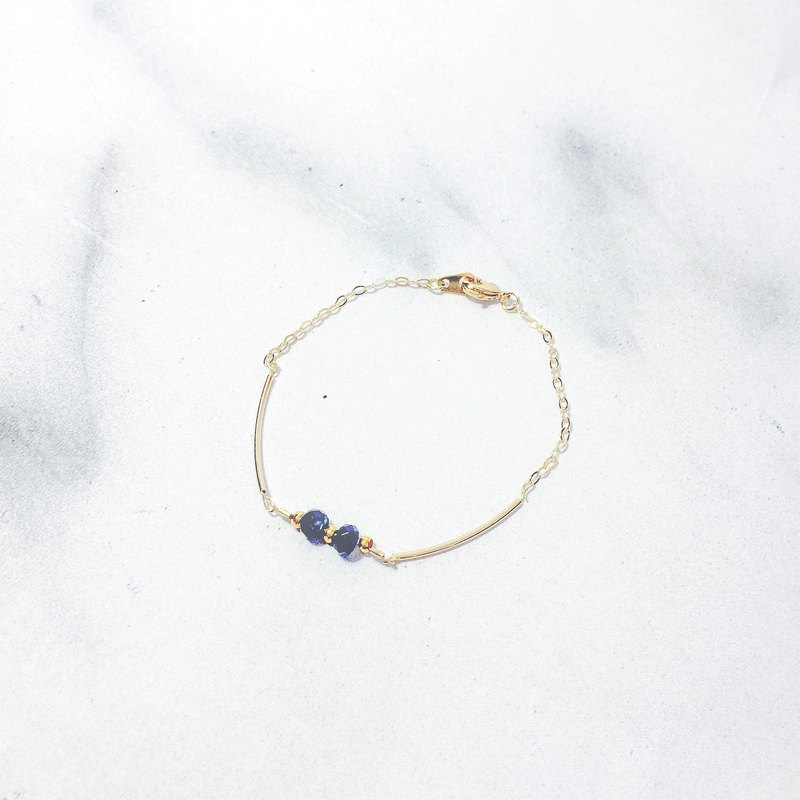 Twin ink blue chalcedony 14K gold fine bracelet