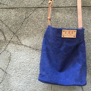Washed canvas square bag / Street Bucket Bag / Canvas / Cow leather handle / Limited dark blue / New