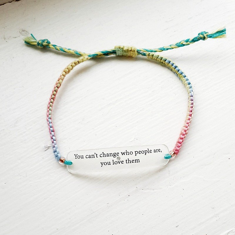 momolico rainbow rope woven bracelet micro text Wen Qing word to express love frustration