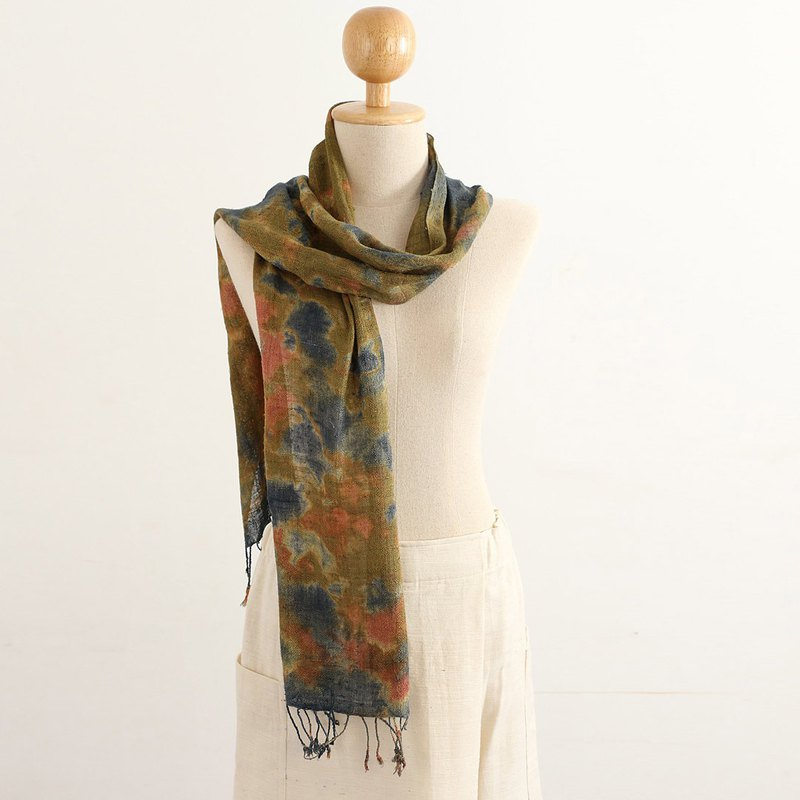 Silk Multiple Tie Dyed Scarf , Brown, Golden Brown