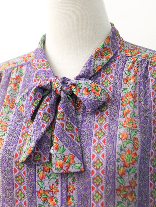Vintage Code Purple Totem Flower Thin Vintage Shirt Vintage Blouse 90s