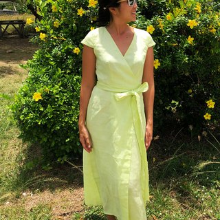 Isabella Lemon Lime linen wrap Dress | Maxi dress